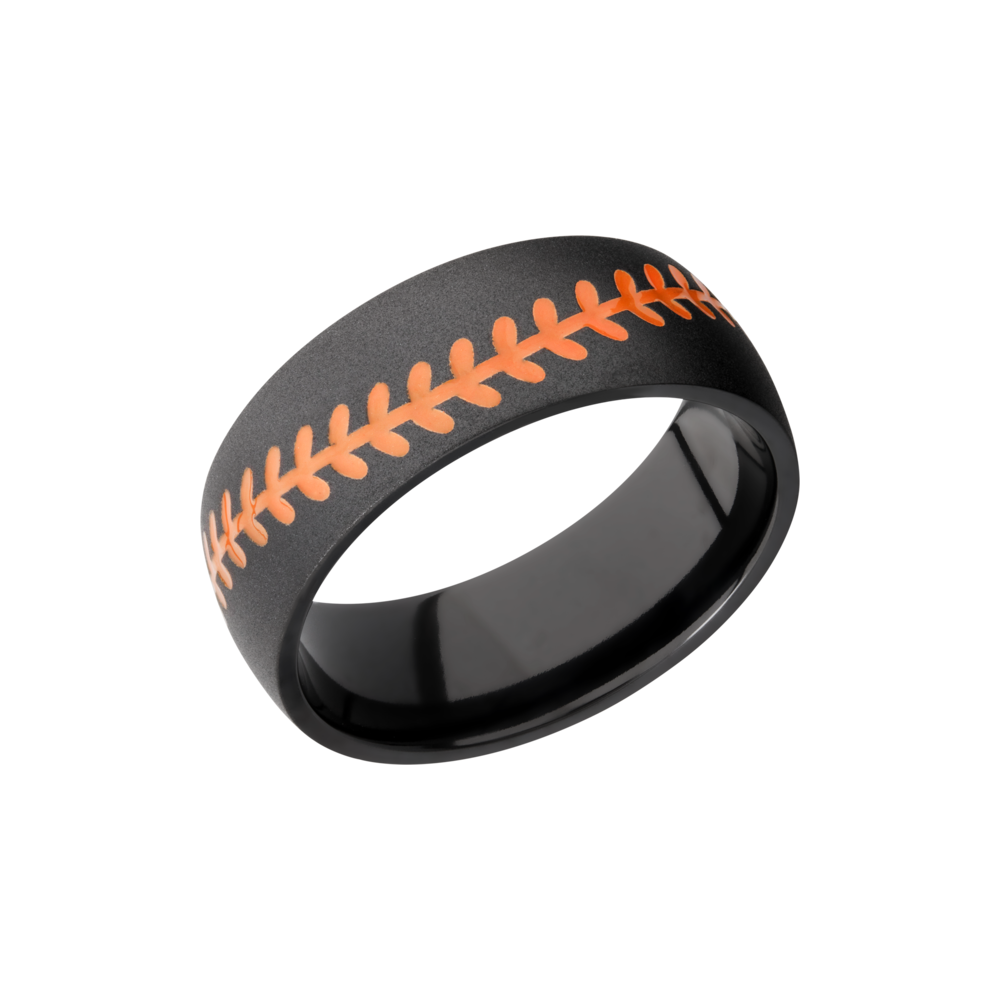 Zirconium Wedding Band - Zirconium 8mm domed band with a laser-carved baseball stitch and orange Cerakote in the recessed stitching
