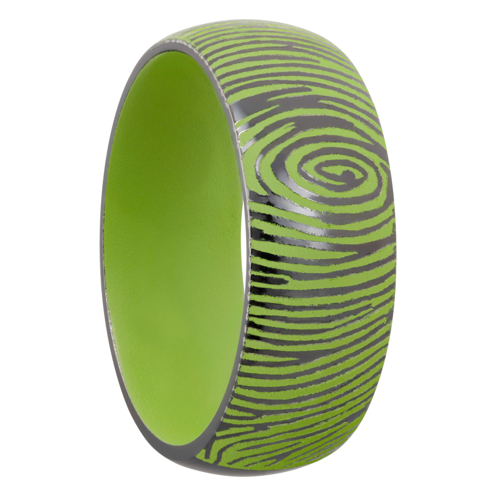 Zirconium & Cerakote Wedding Band - Zirconium 8mm domed band with a laser-carved fingerprint featuring Zombie Green Cerakote in the recessed pattern and on the sleeve