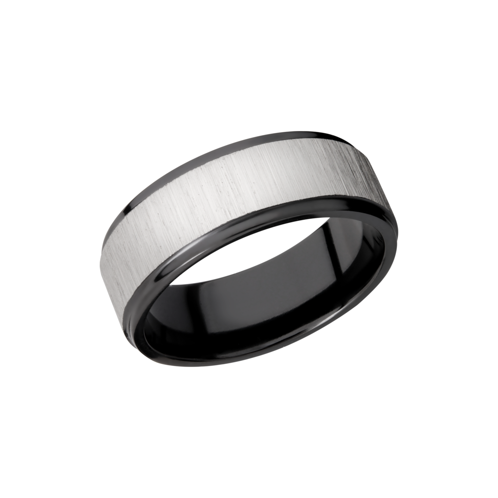 Zirconium Wedding Band - Zirconium 8mm flat band with grooved edges