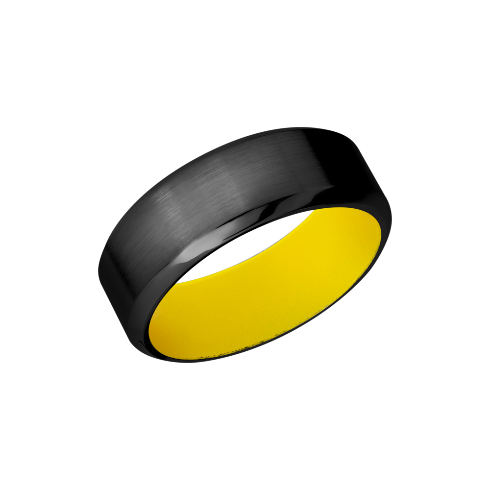 Zirconium & Cerakote Wedding Band - Zirconium 8mm band with a yellow Cerakote sleeve