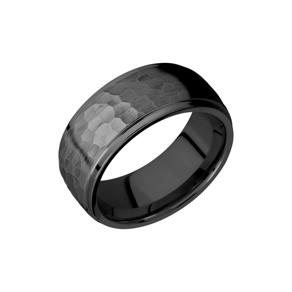 Zirconium 9mm Band - Zirconium 9mm domed band with grooved edges