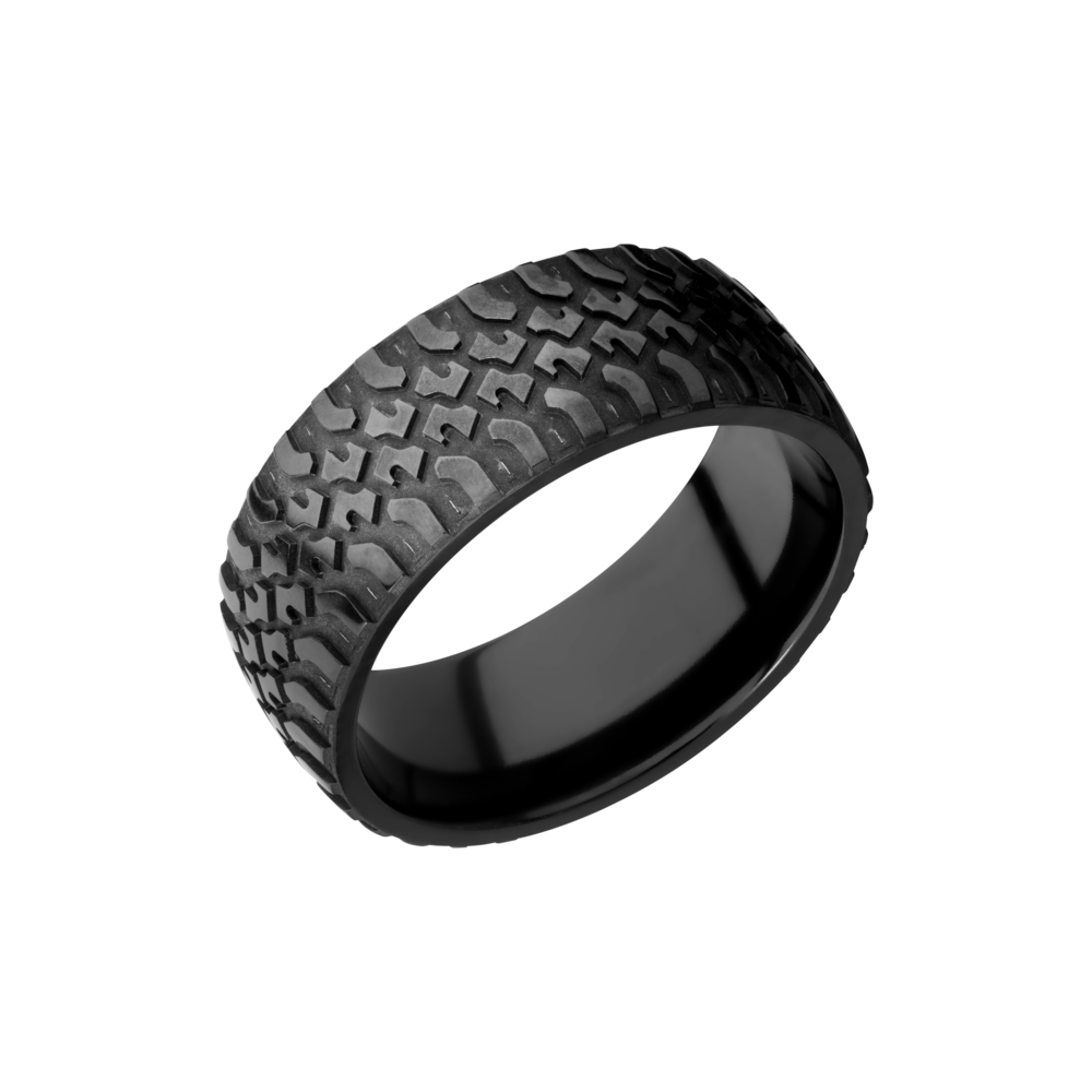Zirconium 9mm Band - Zirconium 9mm domed band with a laser-carved truck pattern