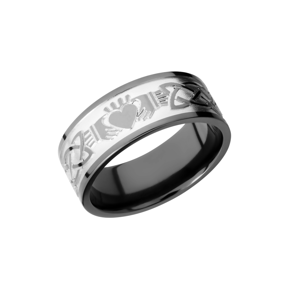 Zirconium 9mm Band - Zirconium 9mm flat band with a laser-carved claddagh celtic pattern