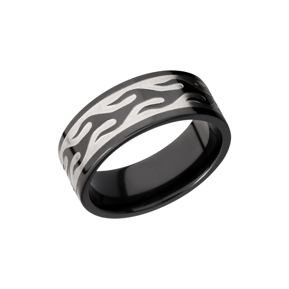 Zirconium 9mm Band - Zirconium 9mm flat band with a laser-carved contour flame pattern