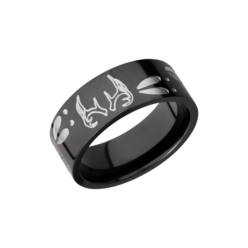 Zirconium 9mm Band - Zirconium 9mm flat band with a laser-carved deer track pattern