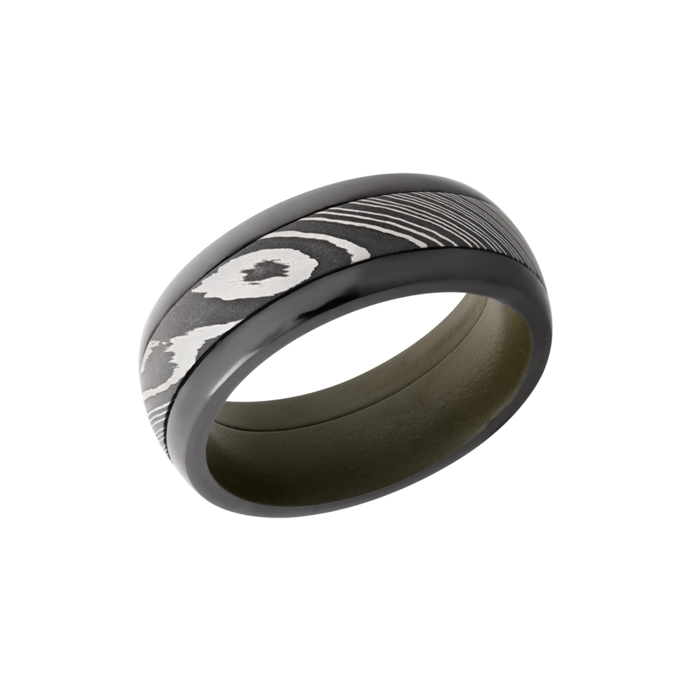 Damascus Steel & Zirconium Wedding Band - Zirconium pressed fit 8mm domed band with a 4mm inlay of Damascus steel and a Cerakote sleeve
