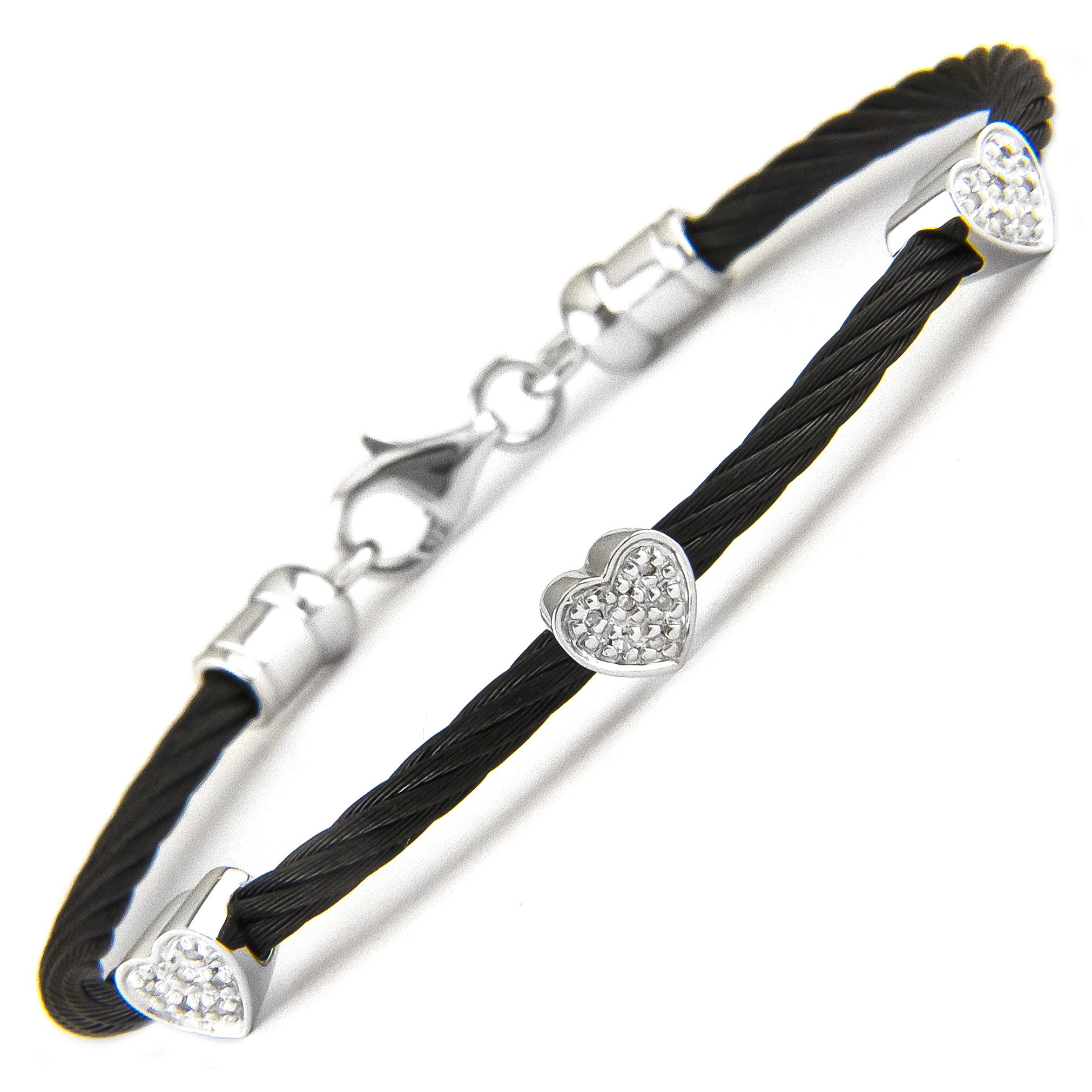 Stainless Steel Heart Single Pave Diamond Bangle  by Lau International