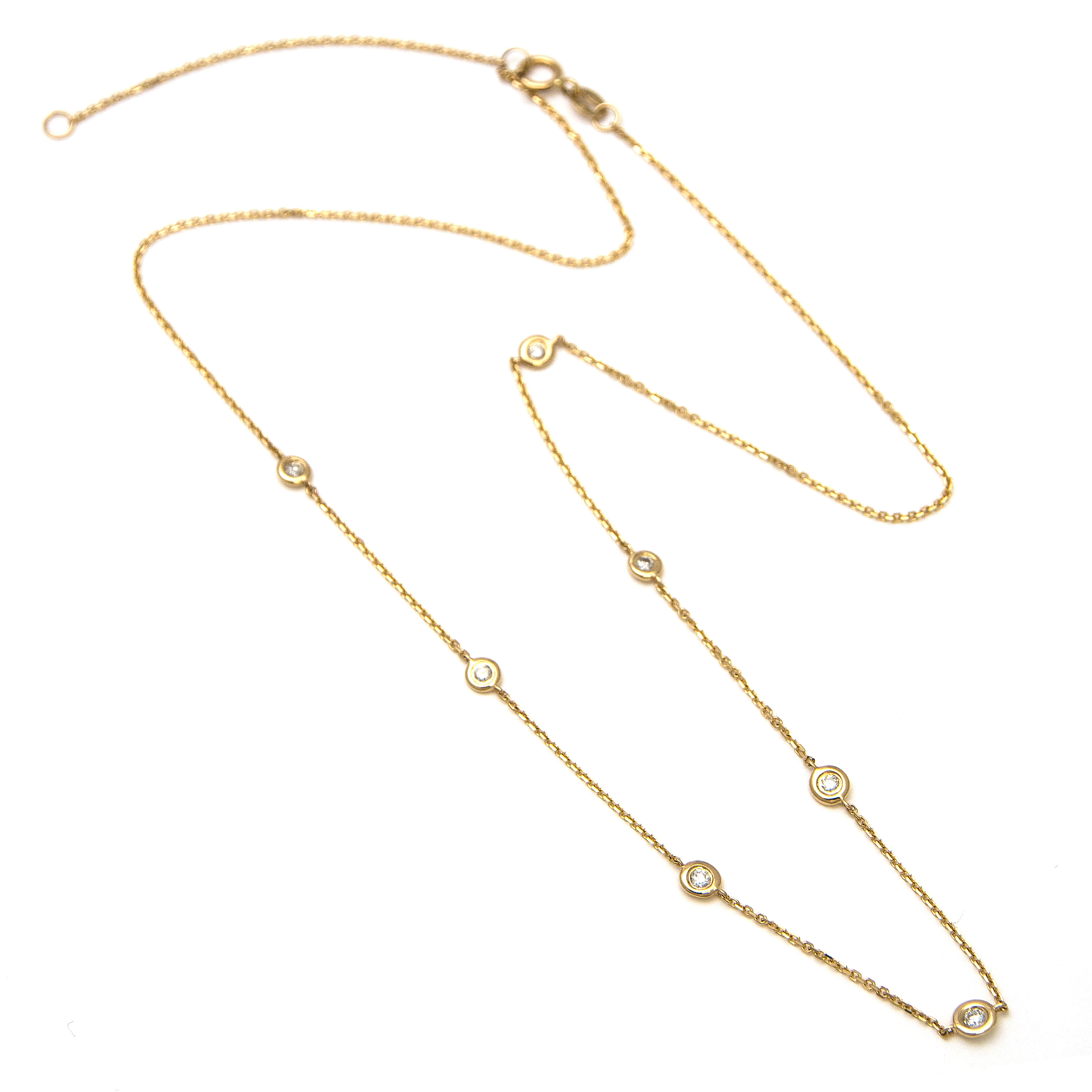 Yellow Gold Diamond By The Yard Round Bezel Diamond Necklace  by Lau International