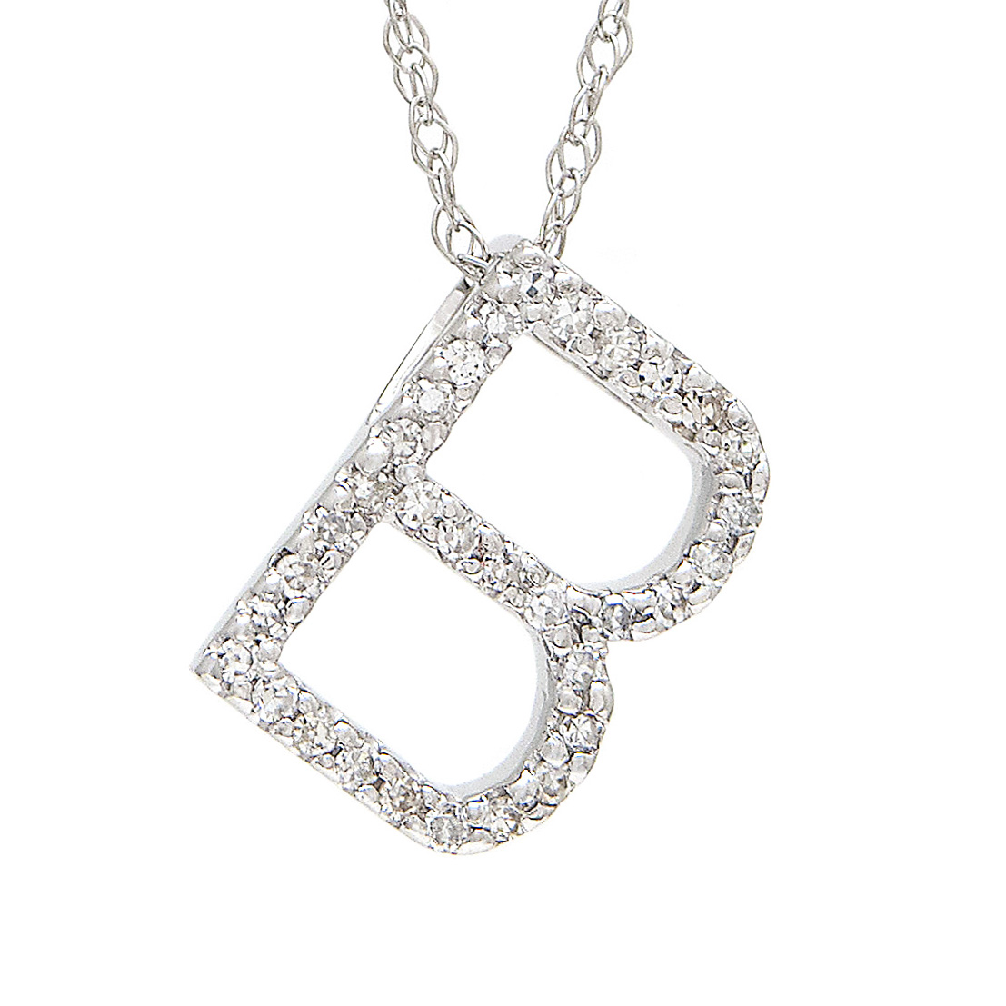 White Gold Initial Single Pave Diamond Pendant  by Lau International