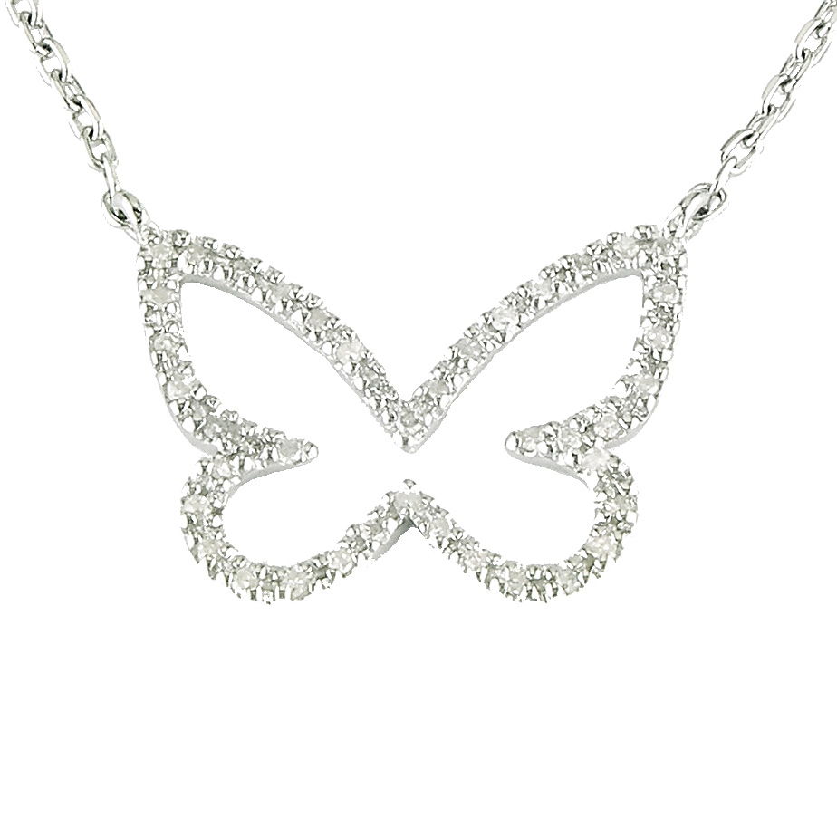 Sterling Silver Butterfly Single Micro Pave Diamond Necklace  by Lau International