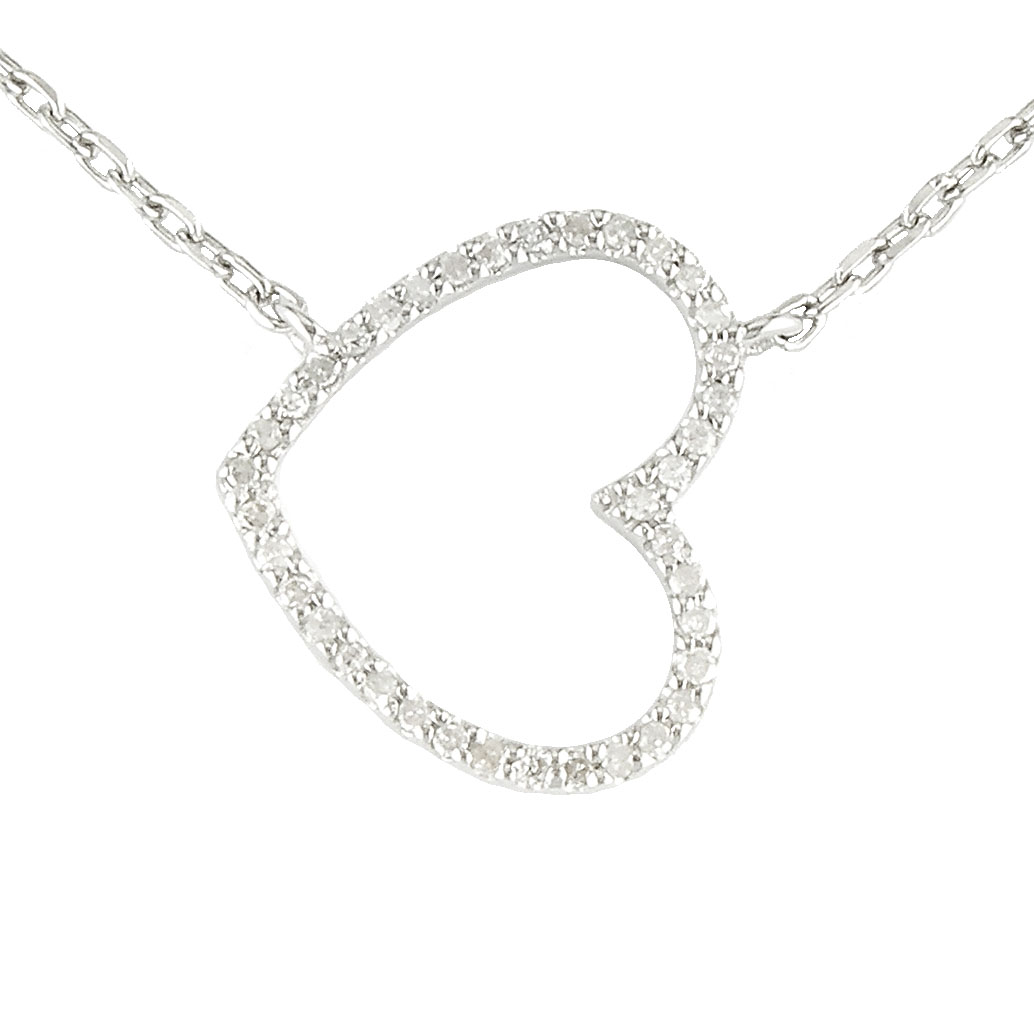 Sterling Silver Heart Single Prong Diamond Necklace  by Lau International