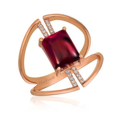 Le Vian® Ring featuring 3  1/3 cts. Raspberry Rhodolite®, 1/20 cts. Vanilla Diamonds® set in 14K Strawberry Gold®