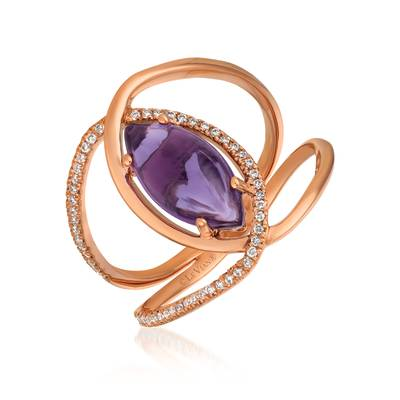 Le Vian® Ring featuring 1  7/8 cts. Grape Amethyst™, 1/6 cts. Vanilla Diamonds® set in 14K Strawberry Gold®