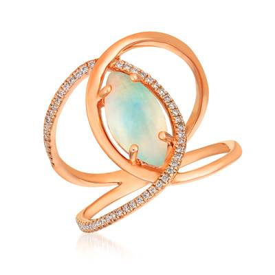Le Vian® Ring featuring 1 cts. Neopolitan Opal™, 1/6 cts. Vanilla Diamonds® set in 14K Strawberry Gold®