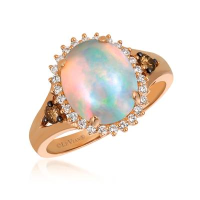 Le Vian Chocolatier® Ring featuring 1  5/8 Cts. Neopolitan Opal™, 1/8 Cts. Chocolate Diamonds®, 1/5 Cts. Vanilla Diamonds® set in 14K Strawberry Gold®