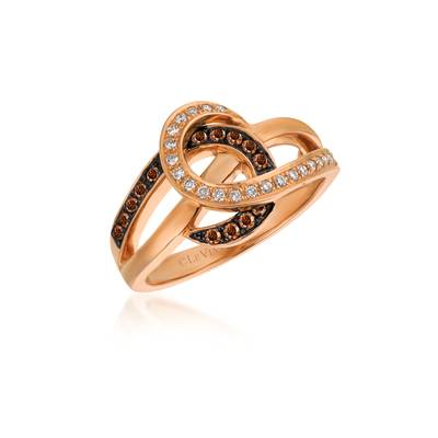 Le Vian Chocolatier® Ring featuring 1/6 cts. Chocolate Diamonds®, 1/8 cts. Vanilla Diamonds® set in 14K Strawberry Gold®