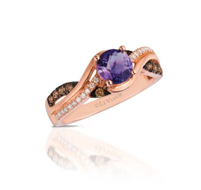 Le Vian Chocolatier® Ring featuring 5/8 cts. Cotton Candy Amethyst®, 1/6 cts. Chocolate Diamonds®, 1/15 cts. Vanilla Diamonds® set in 14K Strawberry Gold®