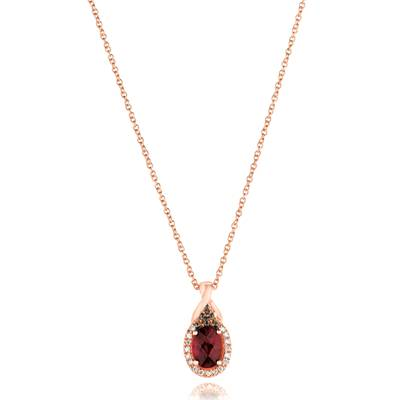 Le Vian® Pendant featuring 3/4 cts. Raspberry Rhodolite®, 1/15 cts. Chocolate Diamonds®, 1/15 cts. Vanilla Diamonds® set in 14K Strawberry Gold®