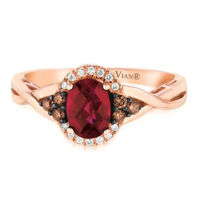 Le Vian Chocolatier® Ring featuring 3/4 cts. Raspberry Rhodolite®, 1/8 cts. Chocolate Diamonds®, 1/20 cts. Vanilla Diamonds® set in 14K Strawberry Gold®