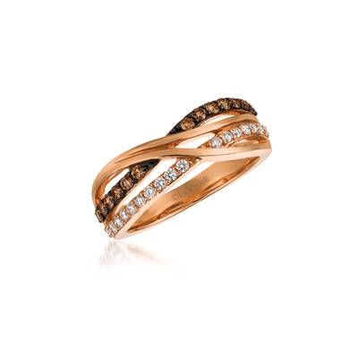 Le Vian Chocolatier® Ring featuring 1/3 Cts. Chocolate Diamonds®, 1/5 Cts. Vanilla Diamonds® set in 14K Strawberry Gold®