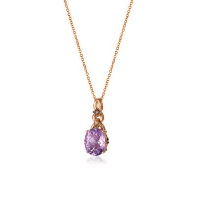 Le Vian Chocolatier® Pendant featuring 2 cts. Grape Amethyst™, 1/20 cts. Chocolate Diamonds®, Vanilla Diamonds® set in 14K Strawberry Gold®