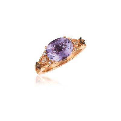 Le Vian Chocolatier® Ring featuring 2 cts. Grape Amethyst™, 1/10 cts. Chocolate Diamonds®, 1/10 cts. Vanilla Diamonds® set in 14K Strawberry Gold®