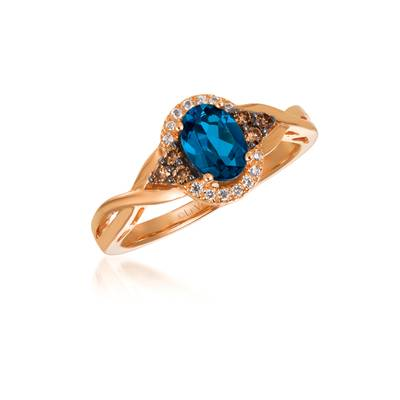 Le Vian Chocolatier® Ring featuring 3/4 cts. Deep Sea Blue Topaz™, 1/8 cts. Chocolate Diamonds®, 1/20 cts. Vanilla Diamonds® set in 14K Strawberry Gold®