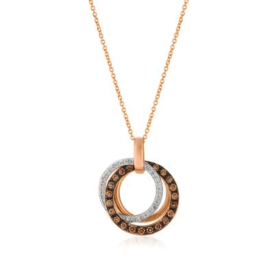 Le Vian Chocolatier® Pendant featuring 1/2 cts. Chocolate Diamonds®, 1/6 cts. Vanilla Diamonds® set in 14K Strawberry Gold®