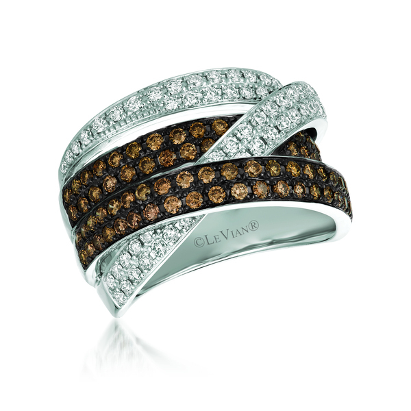 Le Vian Chocolatier® Ring featuring 5/8 cts. Vanilla Diamonds®, 3/4 cts. Chocolate Diamonds® set in 14K Vanilla Gold®