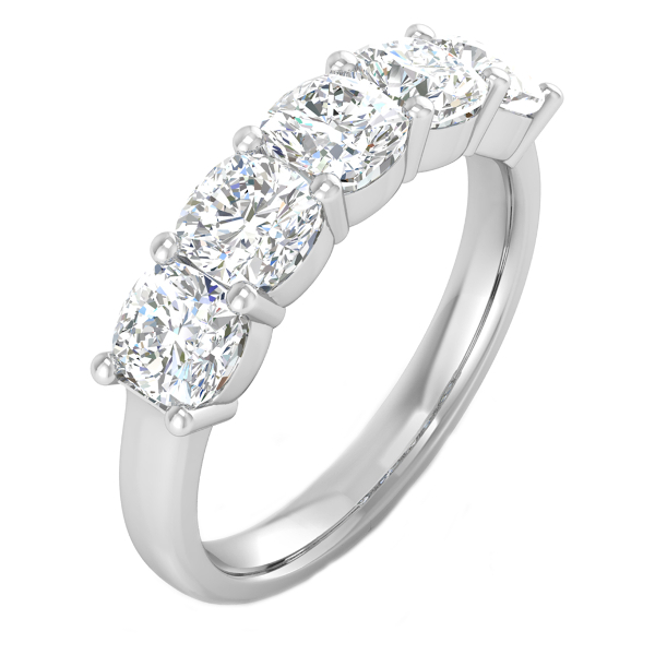 2.00cttw Cushion 5 Stone Anniversary Band in 14K White Gold by Evolv