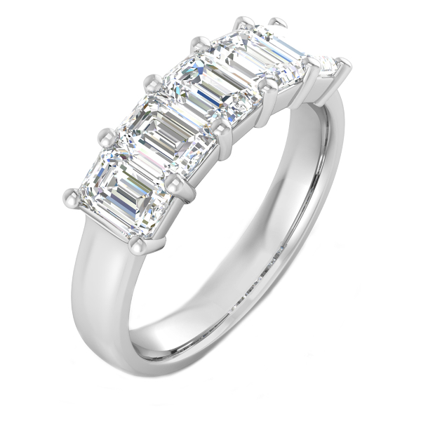 2.00cttw Emerald 5 Stone Anniversary Band in 14K White Gold by Evolv