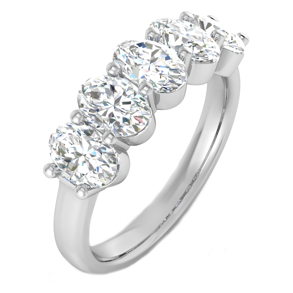 2.00cttw Oval 5 Stone Anniversary Band in 14K White Gold by Evolv