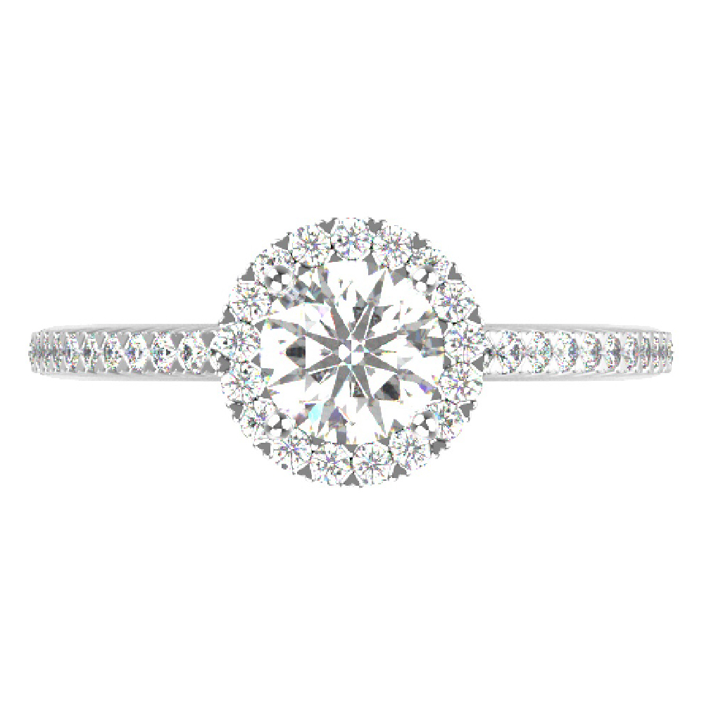 1.30cttw Round Halo Bridal Ring in 14K White Gold by Evolv
