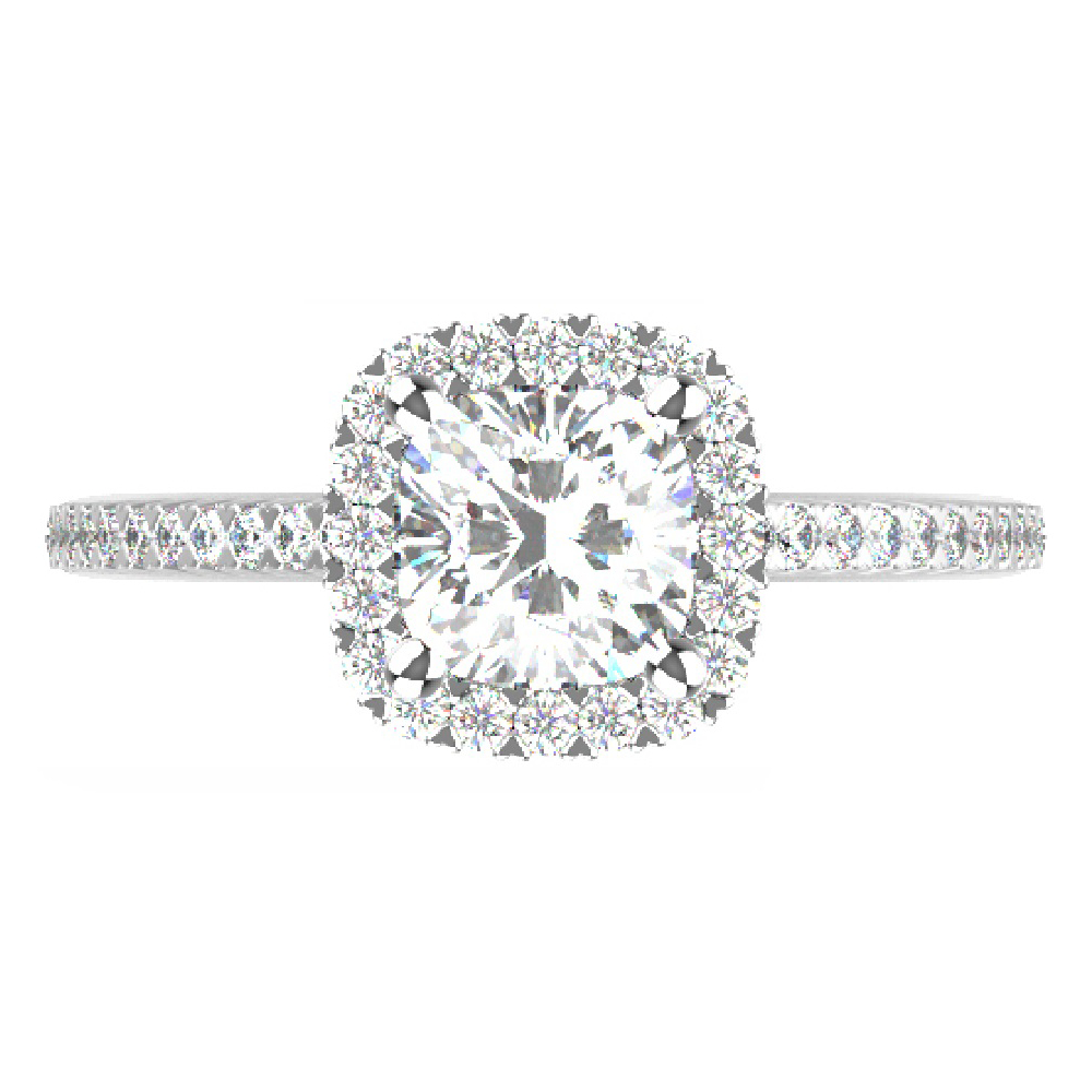 1.30cttw Cushion Halo Bridal Ring in 14K White Gold by Evolv