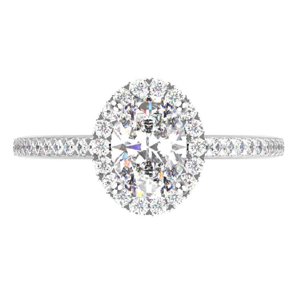 1.30cttw Oval Halo Bridal Ring in 14K White Gold by Evolv