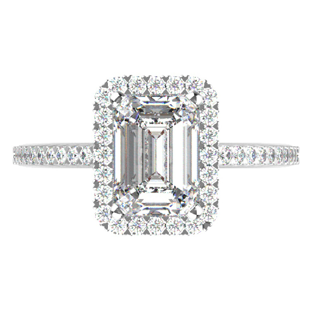 1.30cttw Emerald Halo Bridal Ring in 14K White Gold by Evolv