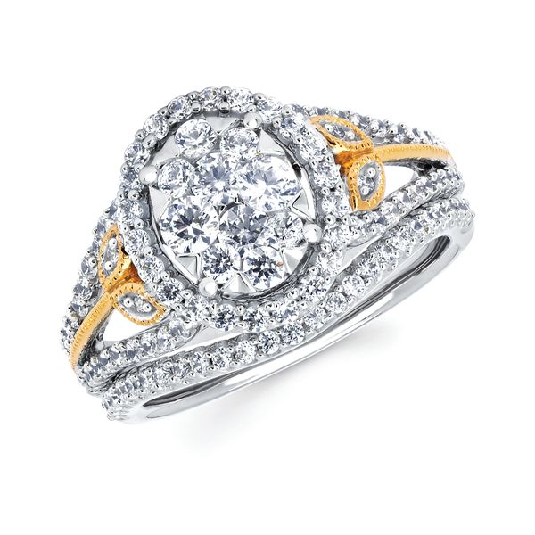 Bridal Sets - 14k White And Yellow Gold Engagement Set