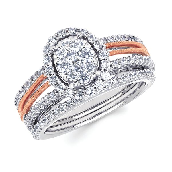 Bridal Sets - 14k White And Rose Gold Engagement Set