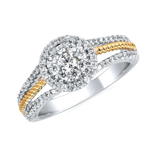 Engagement Rings - 14k White & Yellow Gold Engagement Ring