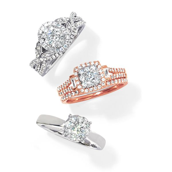 Bridal Sets - 14k White And Rose Gold Engagement Set - image #4