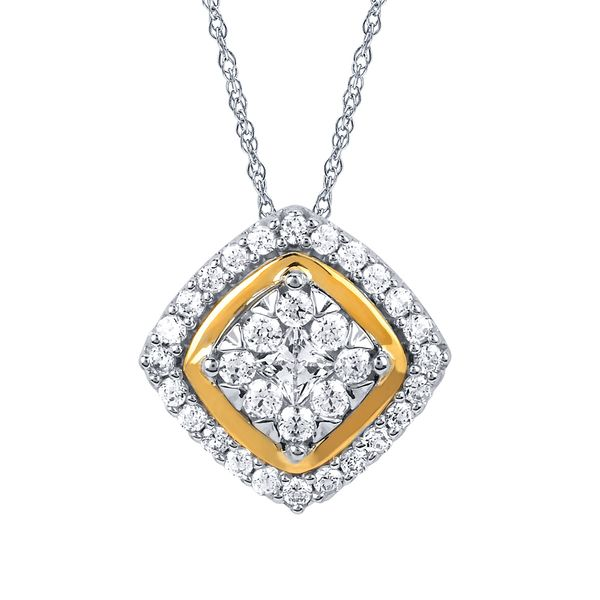 Pendants & Necklaces - 14k White And Yellow Gold Pendant