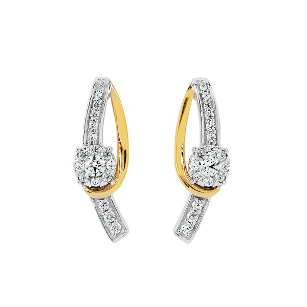 14k White And Yellow Gold Earrings by Ostbye
