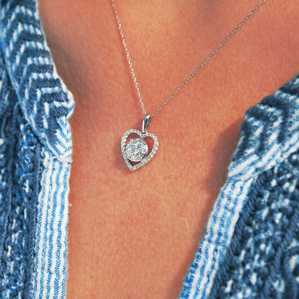 Pendants - 14k White Gold Diamond Pendant - image #2