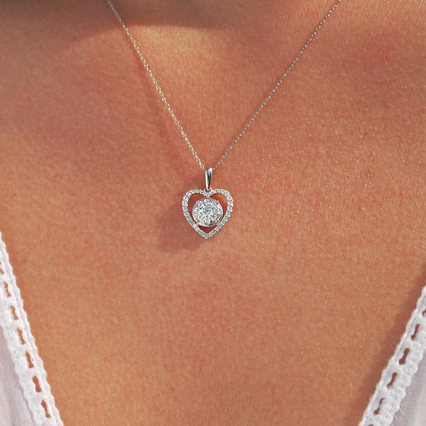 Pendants - 14k White Gold Diamond Pendant - image #3
