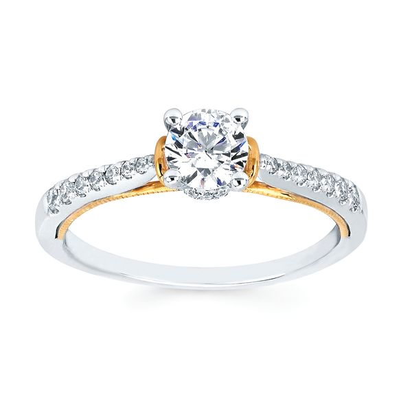Bridal Sets - 14k White And Yellow Gold Engagement Set - image 2