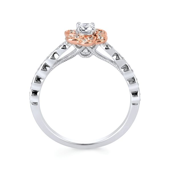 Bridal Sets - 10k White And Rose Gold Engagement Set - image #2