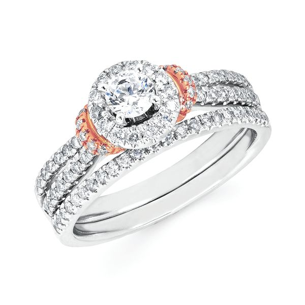Bridal - 14k White And Rose Gold Engagement Set