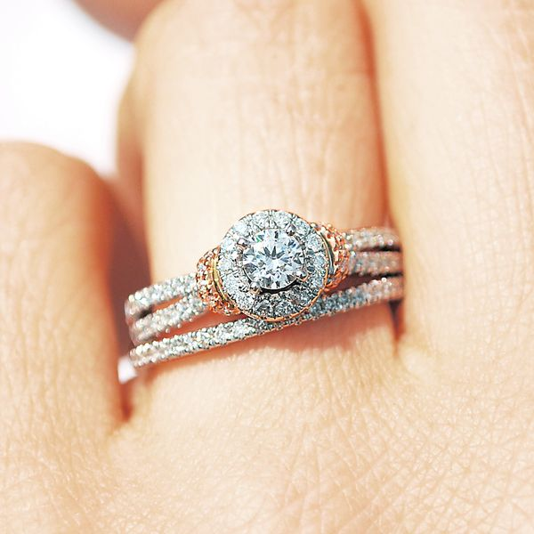 Bridal - 14k White And Rose Gold Engagement Set - image #3