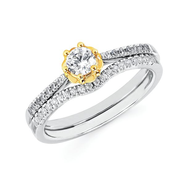 Bridal - 14k White And Yellow Gold Engagement Set