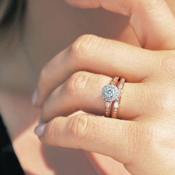 Bridal Sets - 14k White And Rose Gold Engagement Set - image 3